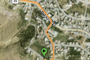 Map how to get from Petra to Beit al Taybeh close up